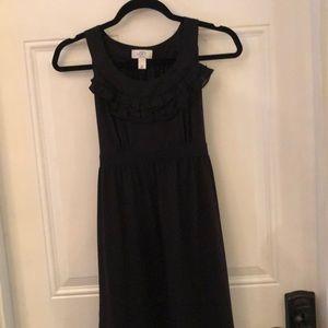 Ann Taylor loft black dress ruffle neck 2P